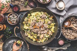 Chopped cabbage and minced meat